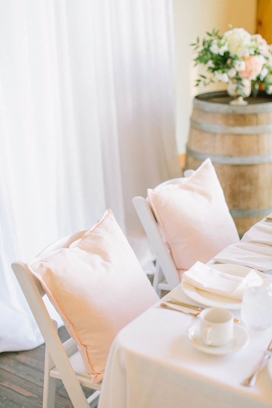 Pillow seating for the bride and groom