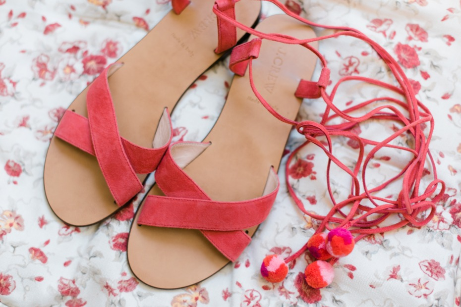 fun coral colored wedding sandles