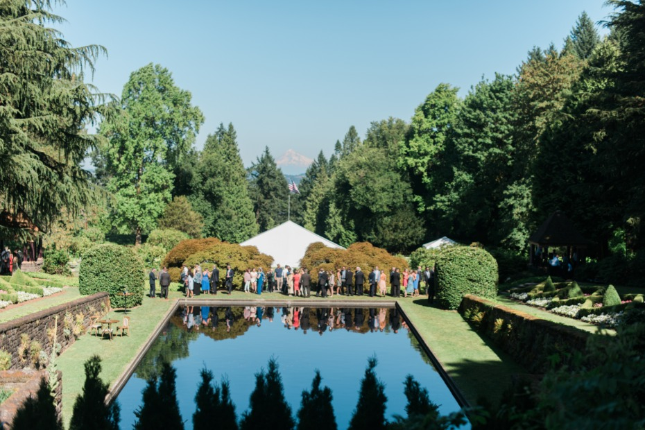 garden reflecting pool wedding reception space