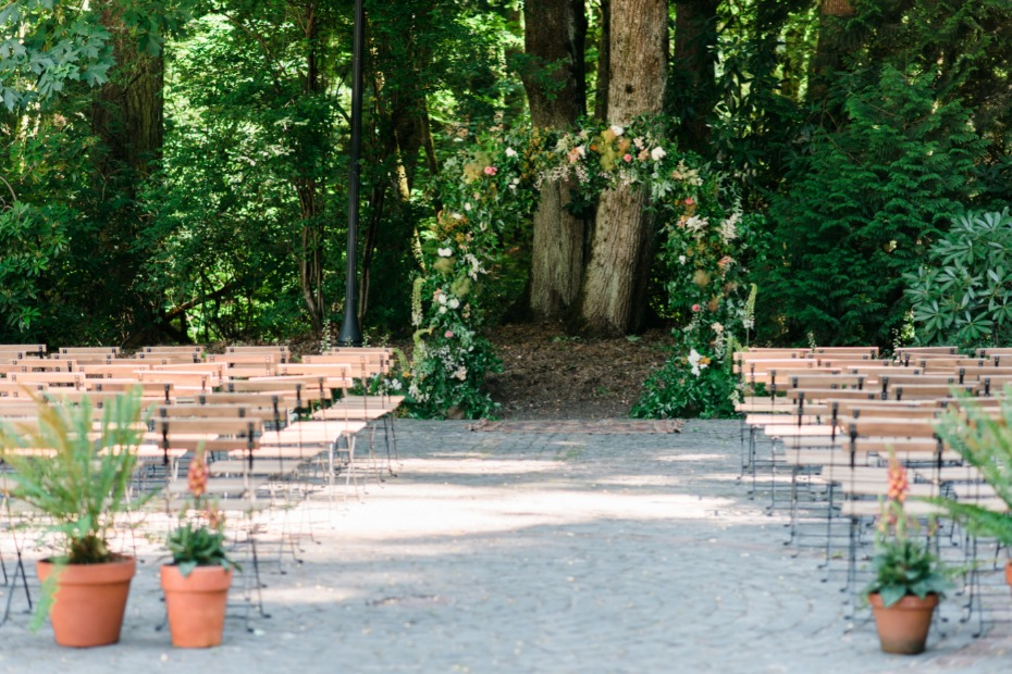 sweet and laid back garden wedding ceremony