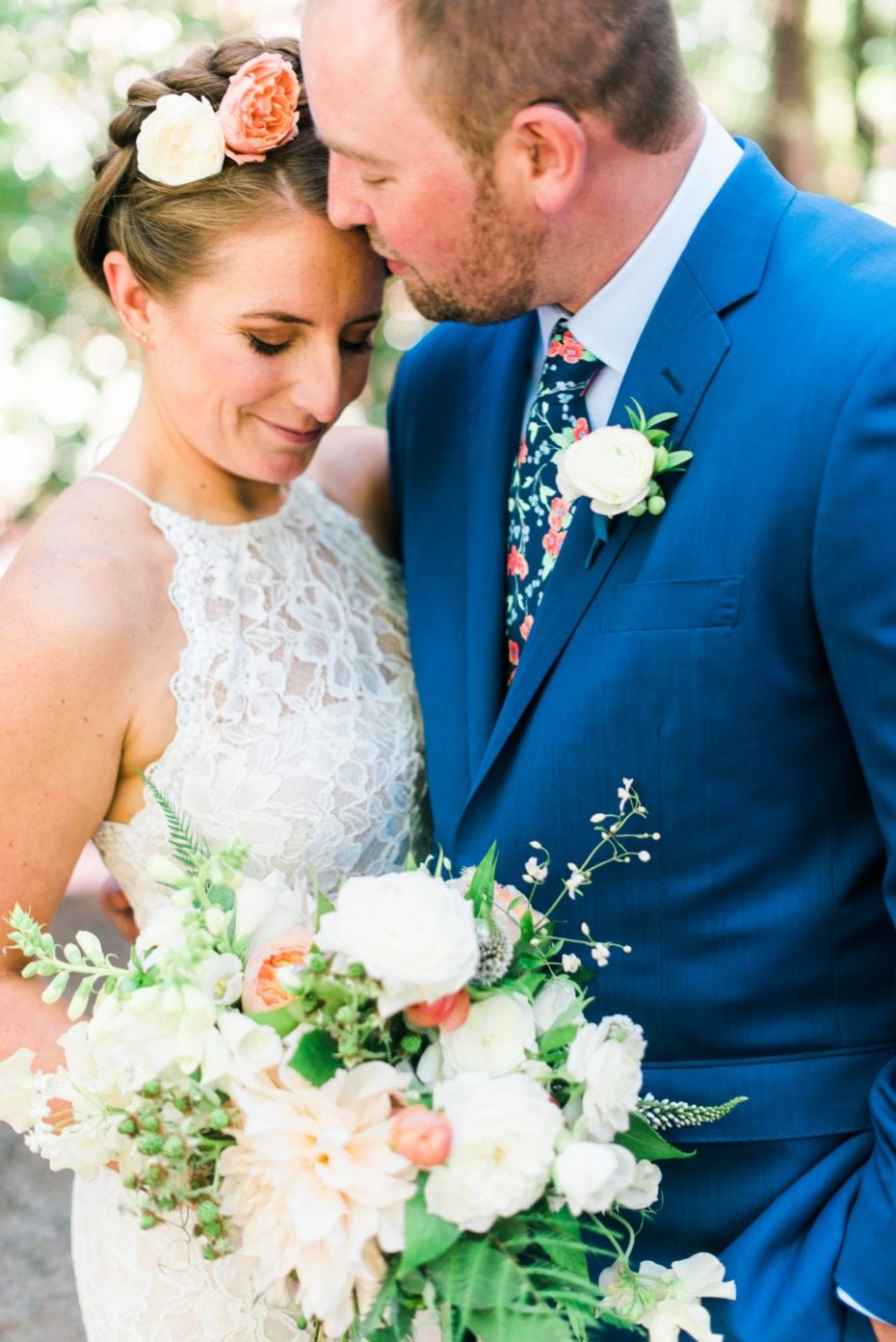 boho bride and groom in fun and funky style for their boho garden chic wedding