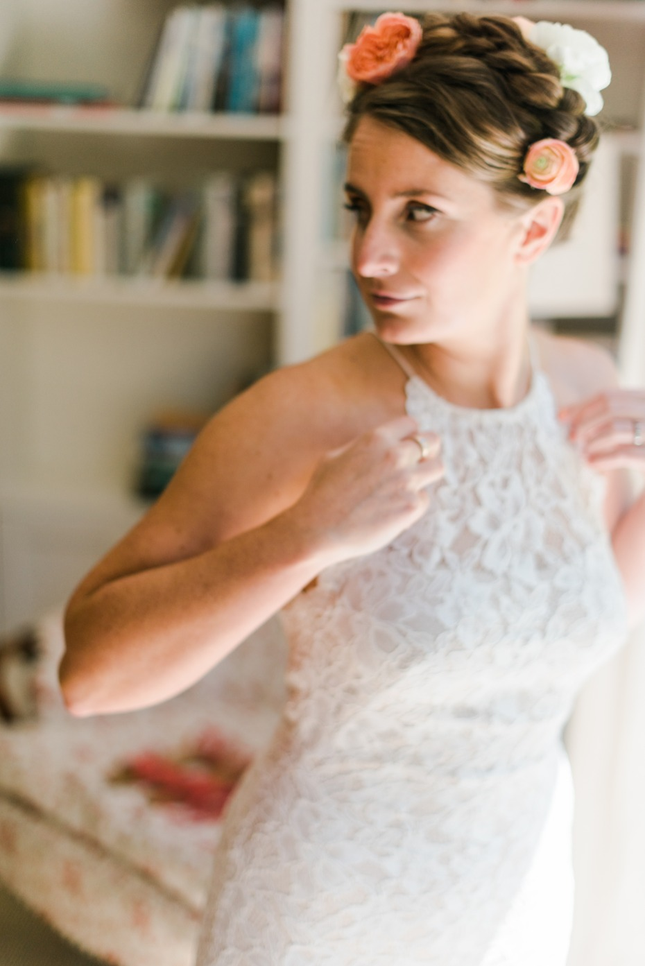 bride preparing for her big walk down the aisle