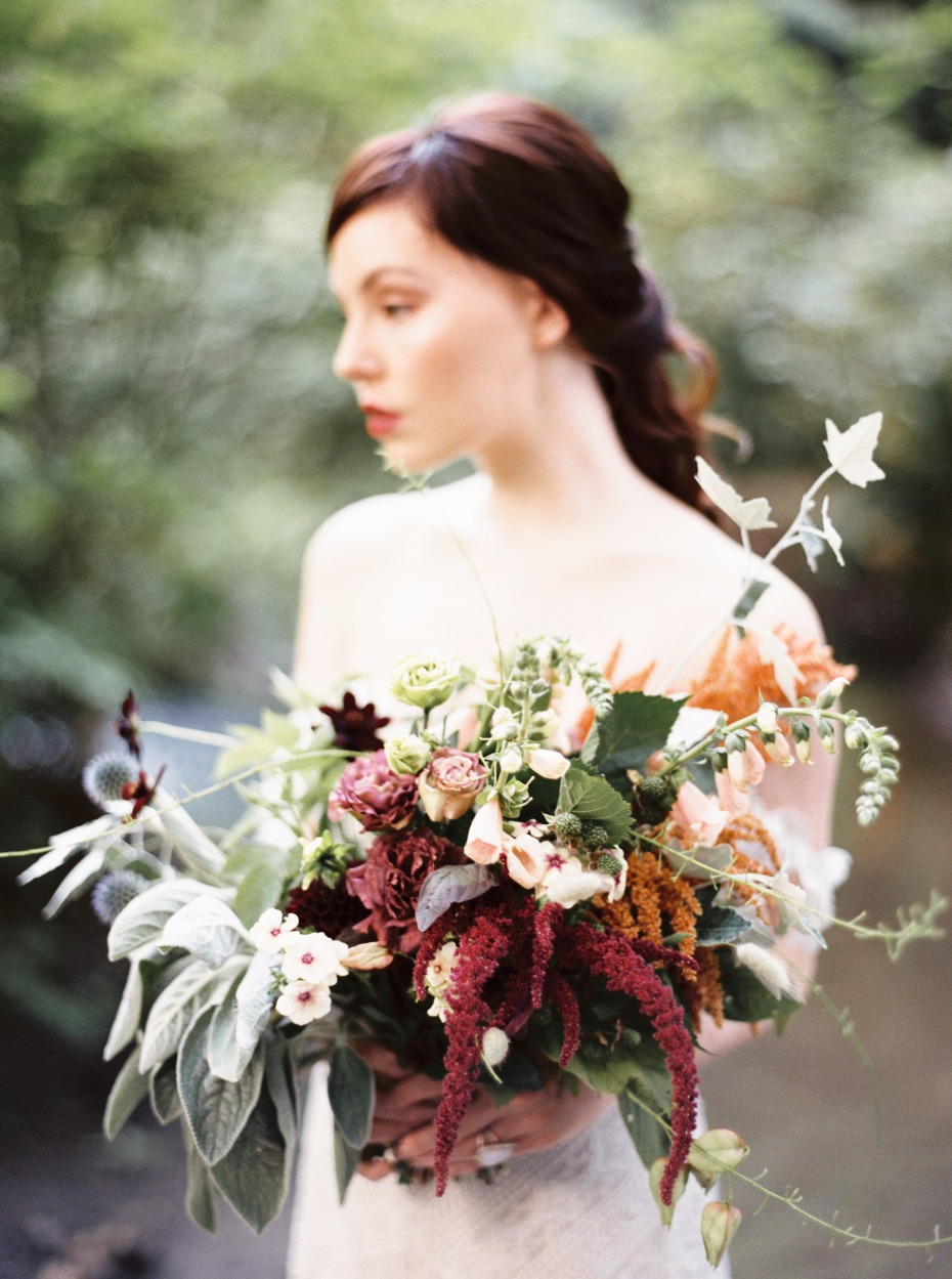 romantic and moody boho style wedding bouquet
