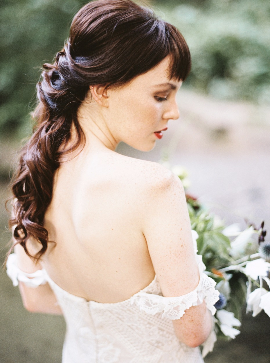 romantic cascading half up wedding hair idea