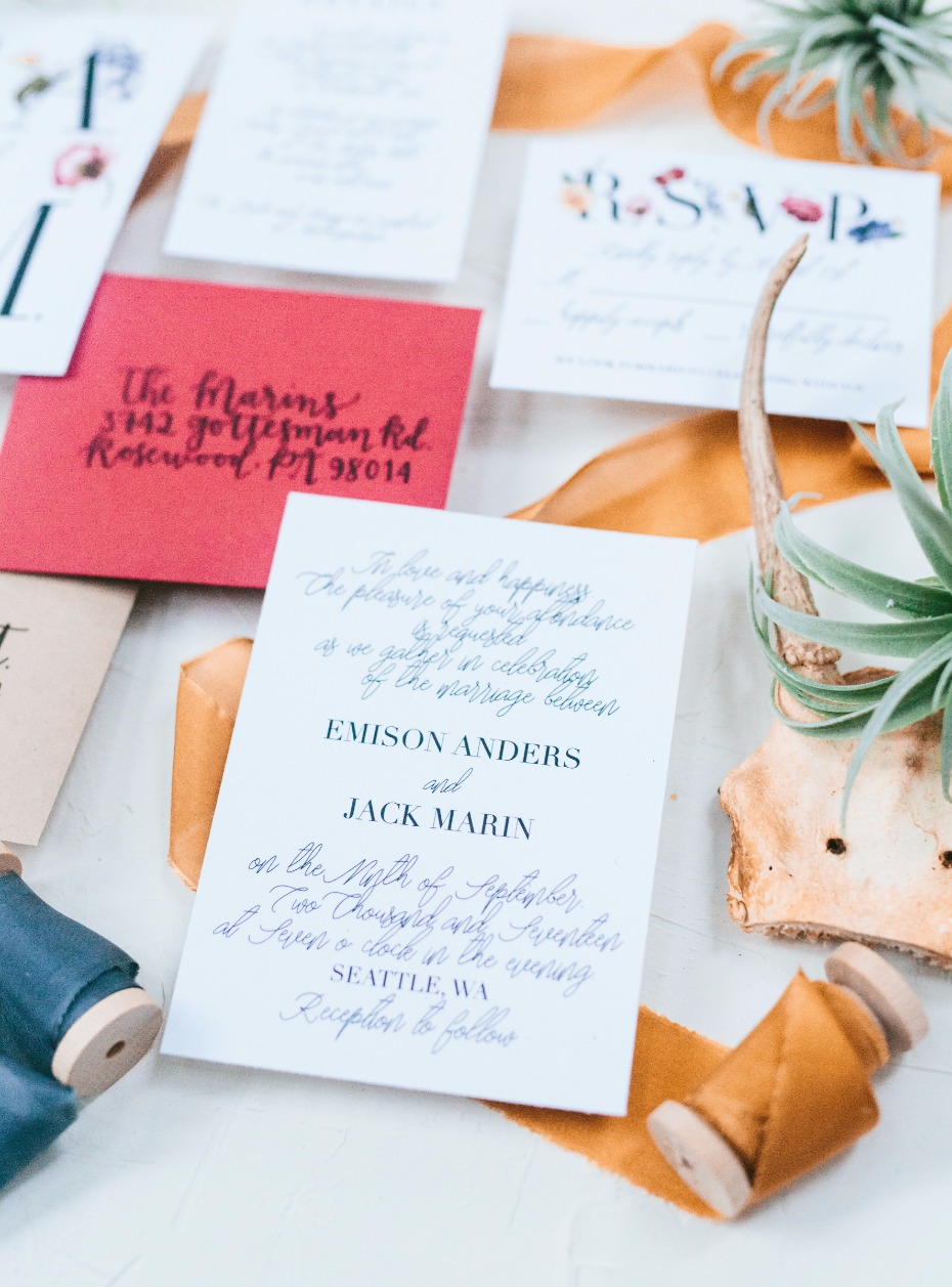wedding invitations for the boho wedding
