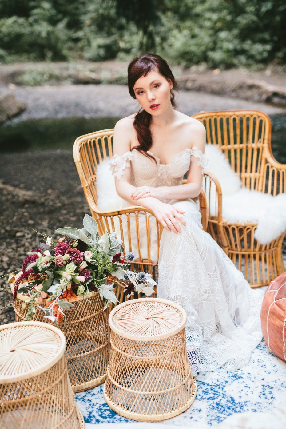wicker wedding lounge for your moody boho style wedding day
