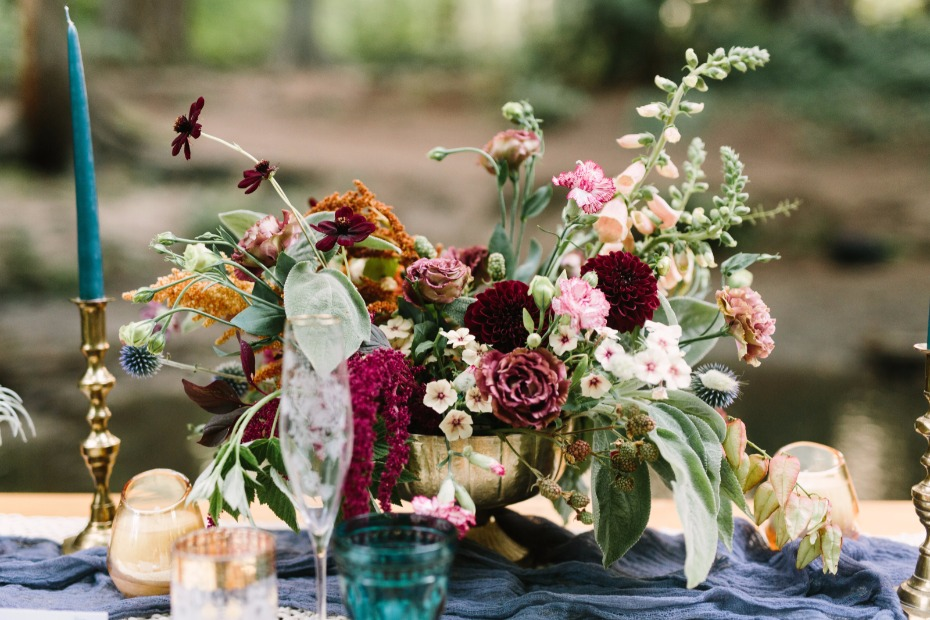 wedding centerpiece for your moody romantic woodland boho wedding