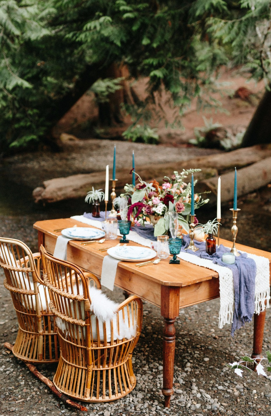 boho wedding table with a rustic chic vibe