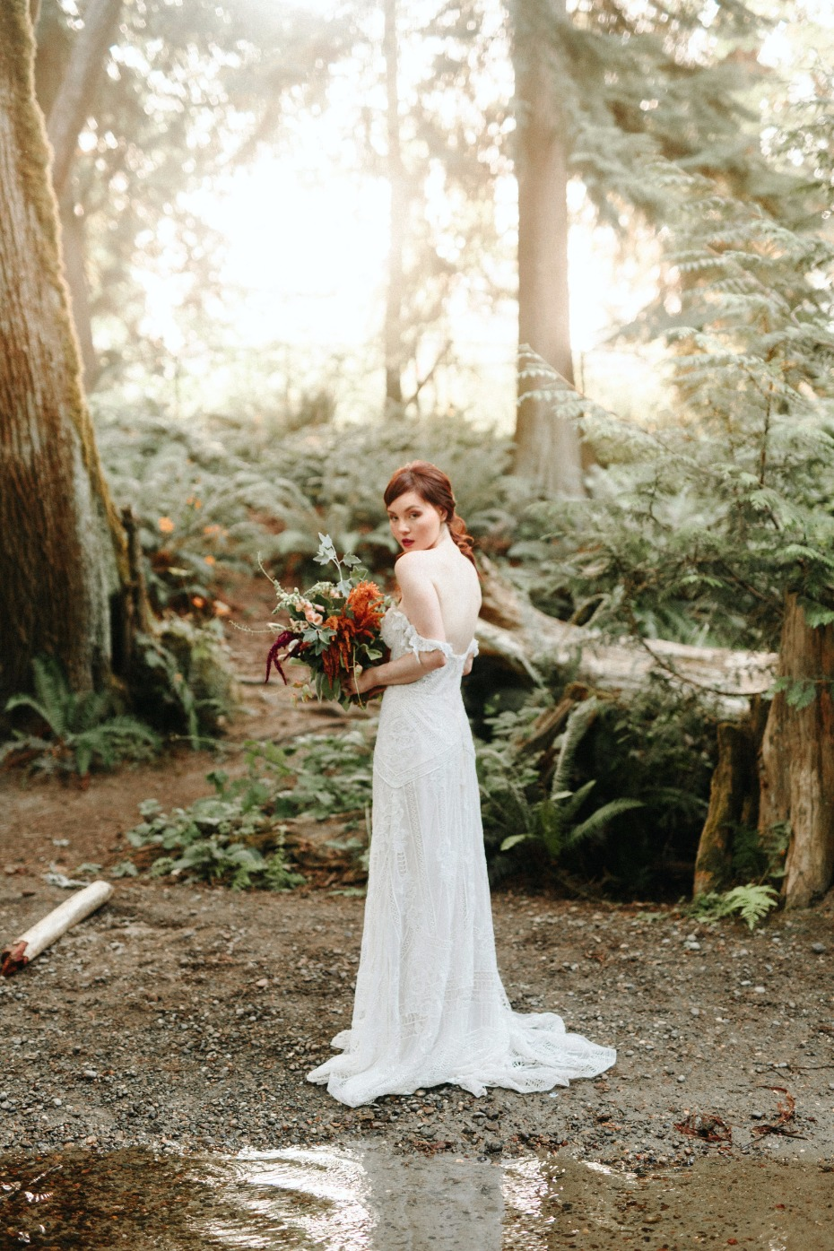 Golden hour bridal shoot in the woods of Seatle