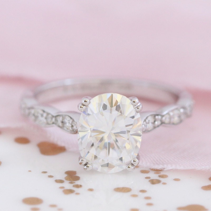 Solitaire Moissanite Engagement Ring in White Gold Diamond Scalloped Band - 9x7mm by La More Design in NYC