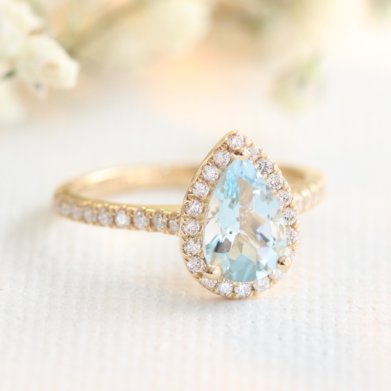 Halo Diamond Aquamarine Engagement Ring in Yellow Gold Diamond Band - Pear 9x6mm by La More Design