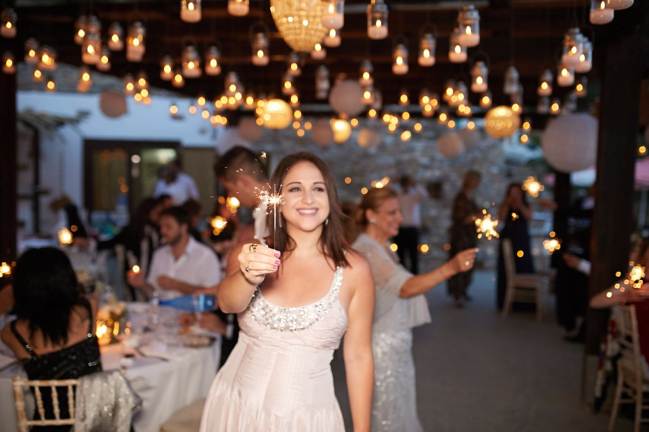 bride and groom wedding entrance with sparklers