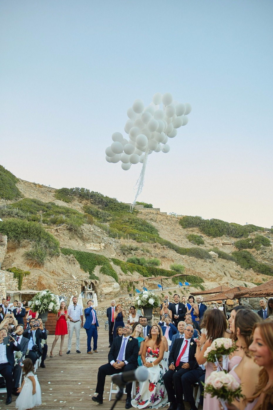 white wedding balloon release