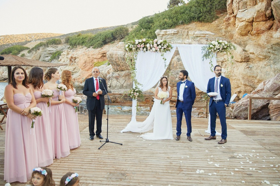 outdoor wedding ceremony on the Greek island