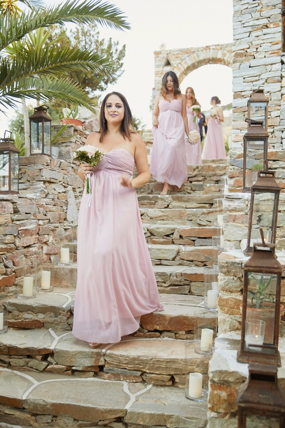 blush strapless bridesmaid dresses