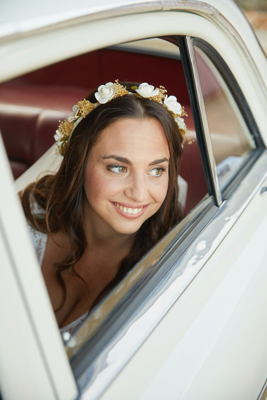 here comes the bride riding in vintage style