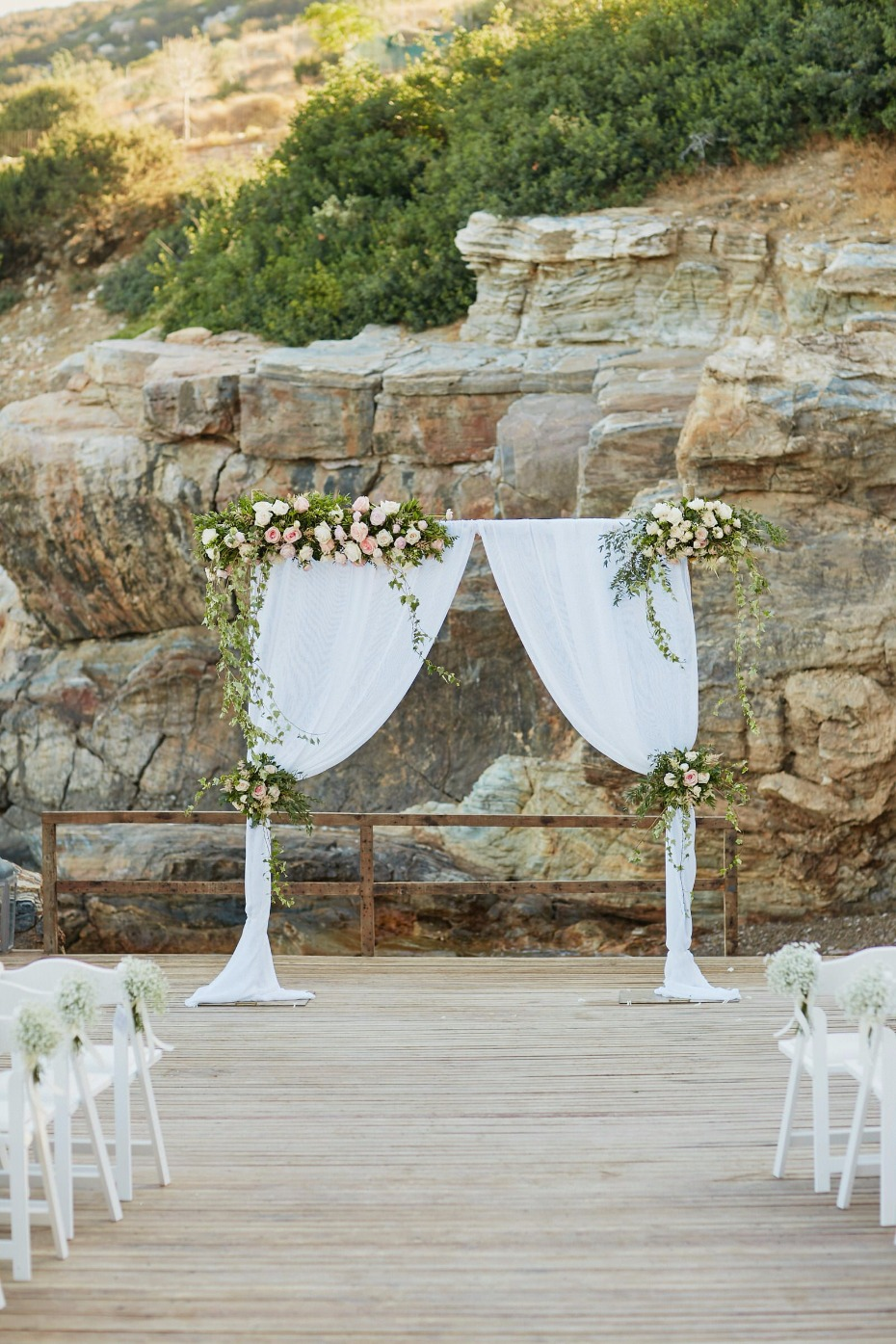 flower accented wedding curtain backdrop