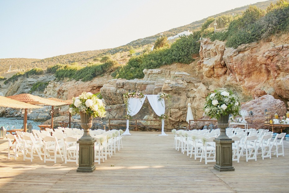 Greek island wedding ceremony