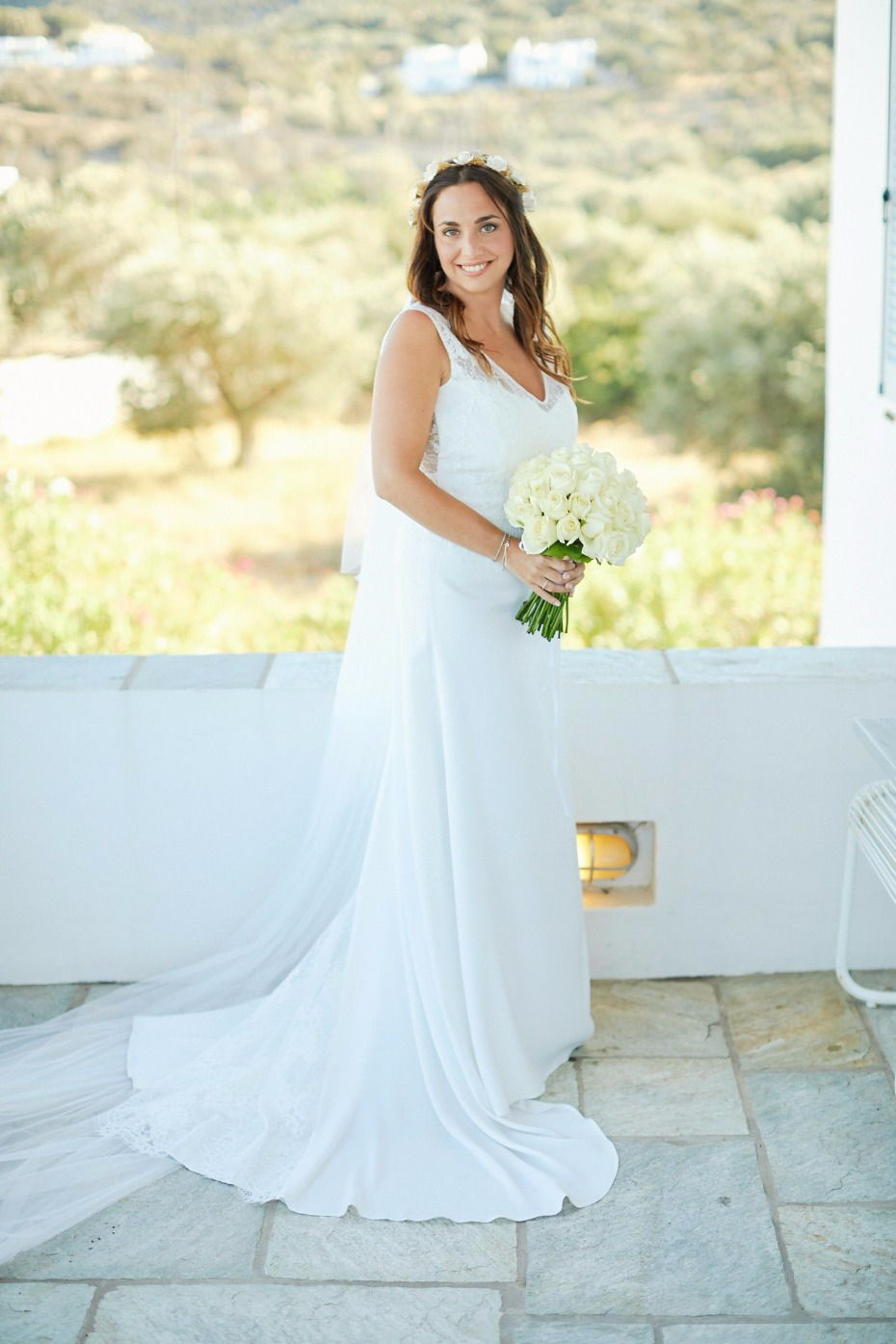 bride all dressed up for her Greek wedding day