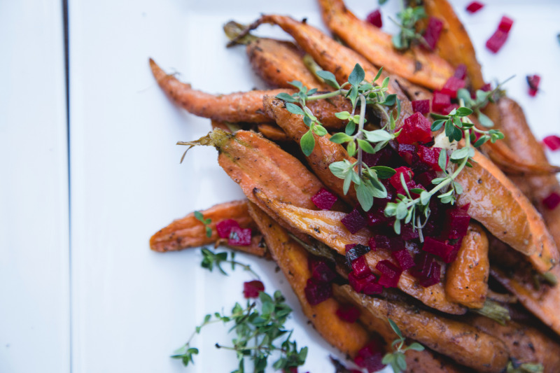 Moroccan Roasted Baby Carrots - Family Style Dinner Service