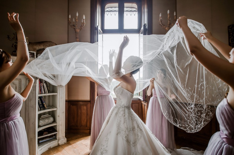 veiling the bride