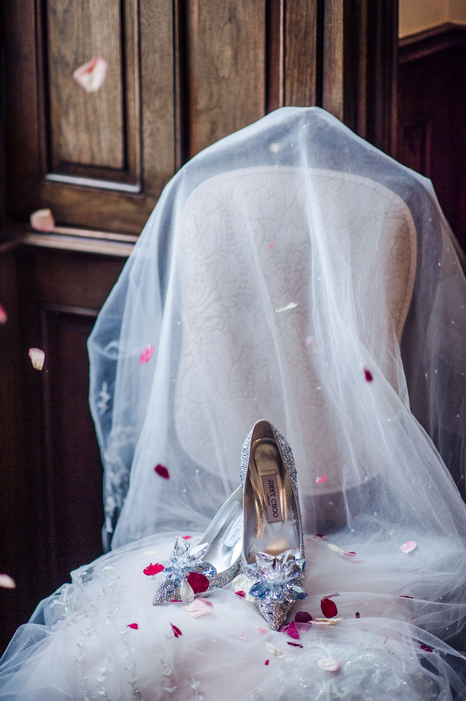 those are some bedazzled wedding shoes