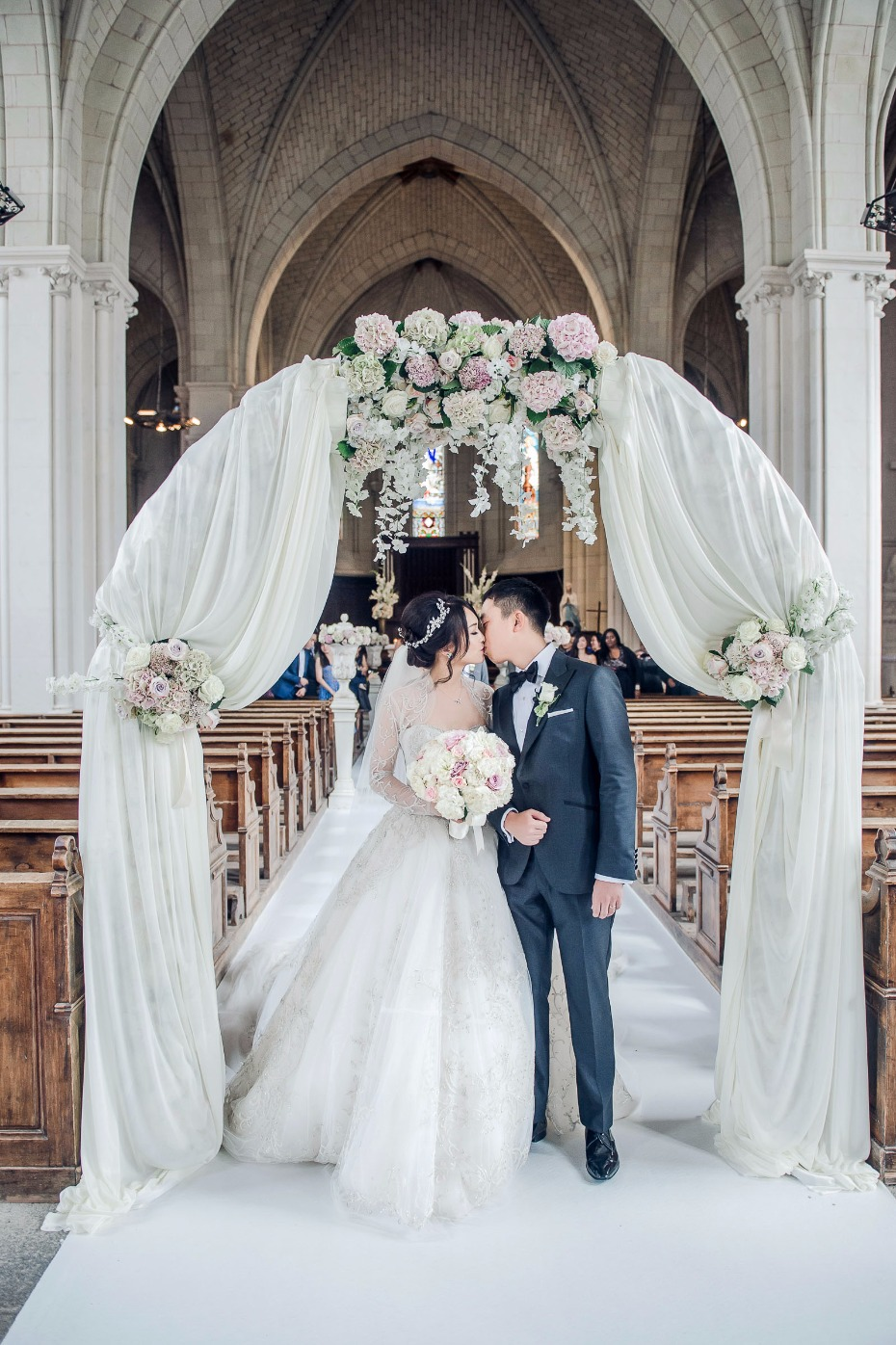 romantic wedding arch for your classic cathedral wedding ceremony