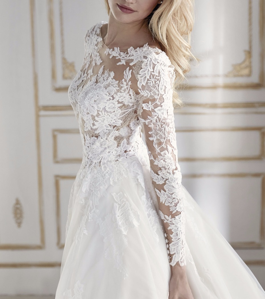 romantic long sleeve ball gown wedding dress