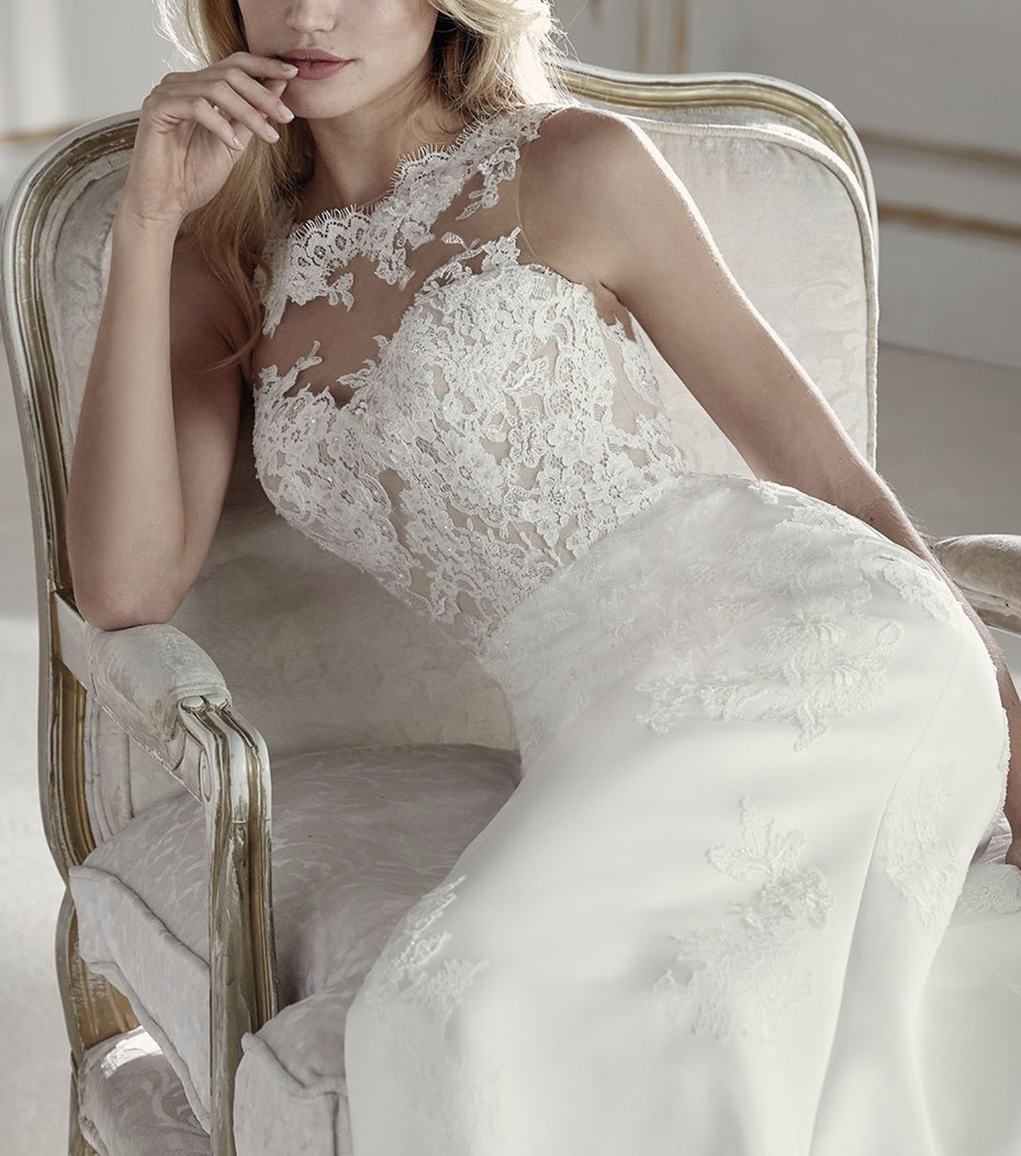 The Prospera by Pronovias has a lace appliqué top.