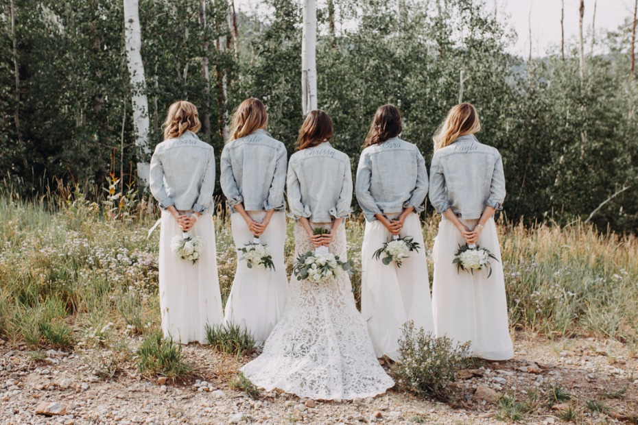 light wash jean jacket bridal party with white dresses