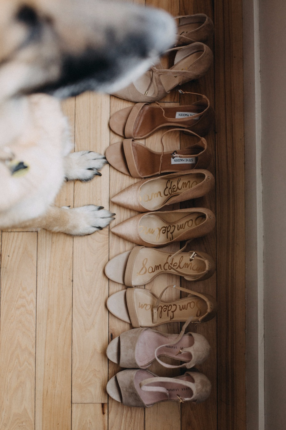 assorted nude wedding shoes