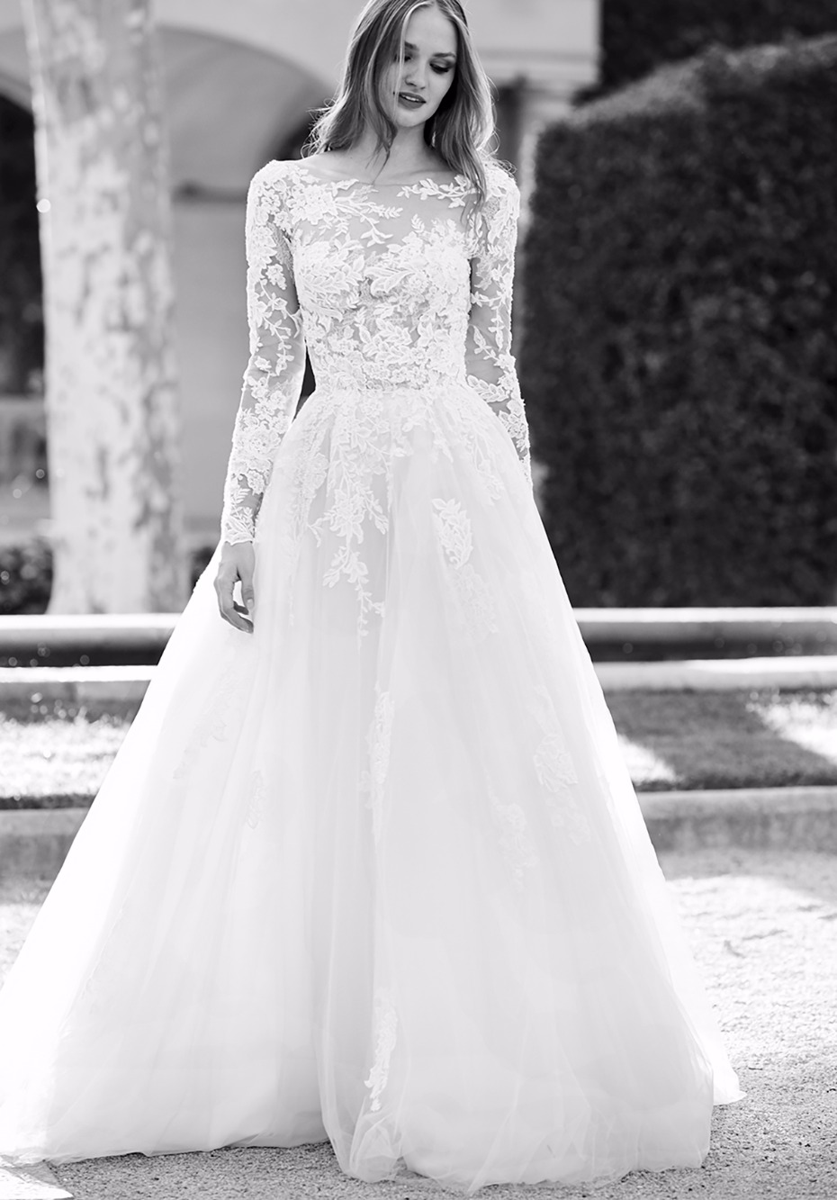 long sleeve lace ball gown
