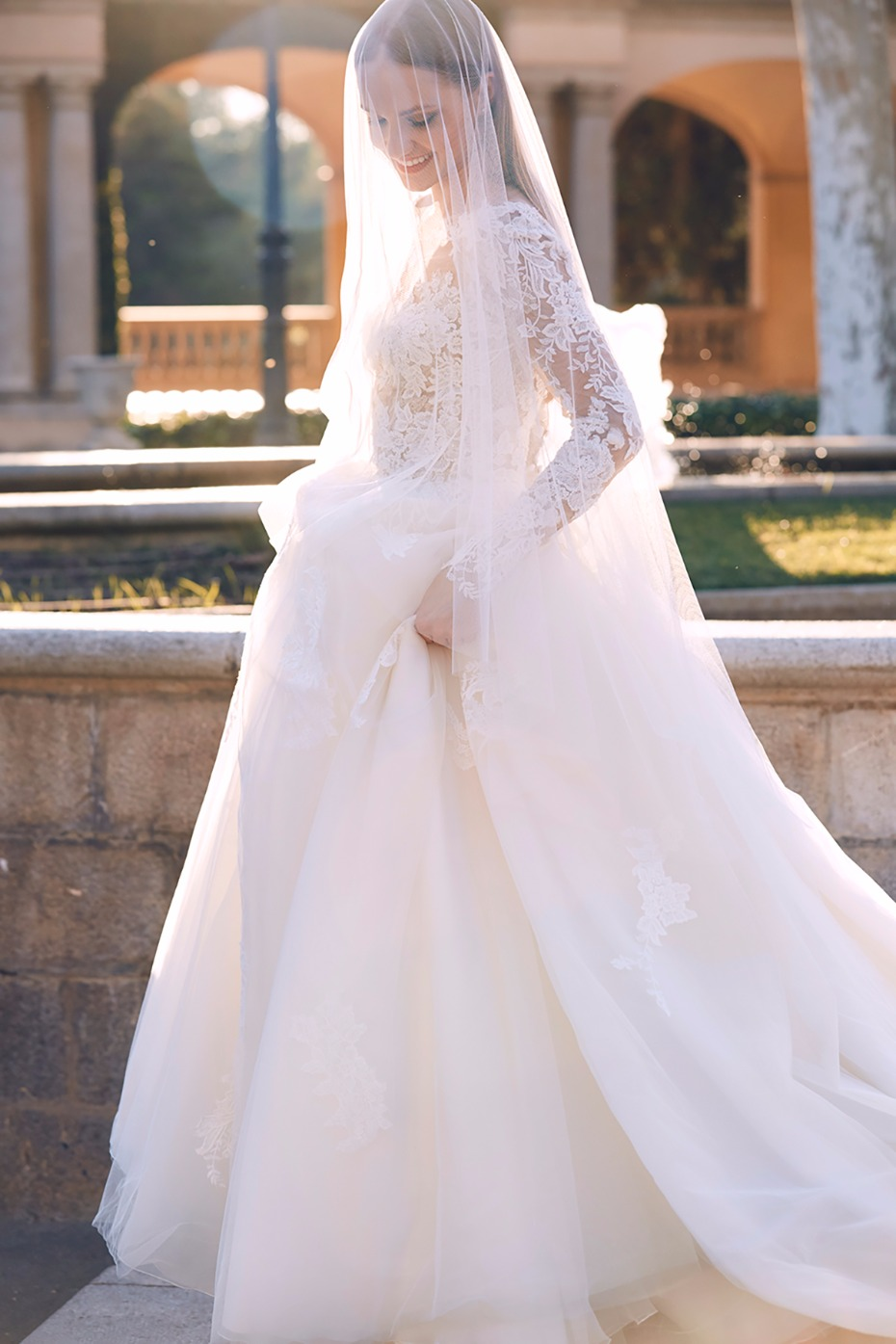 long sleeve ball gown with lace sleeves