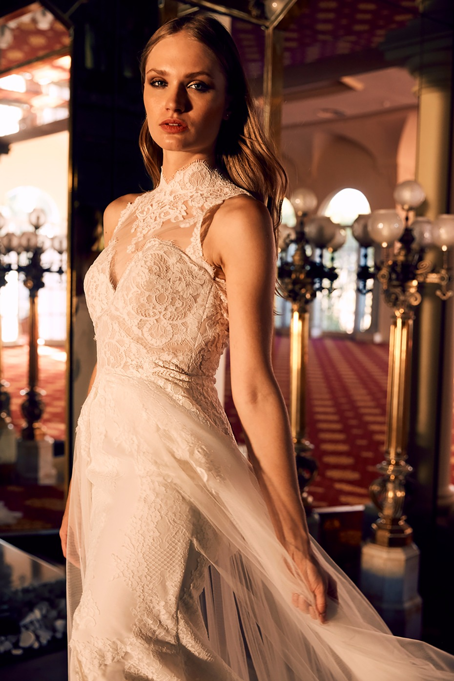 La Sposa wedding dress with high lace collar