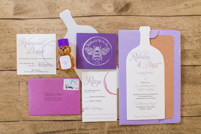 totally custom, unique, winery wedding invitations with real cork lined envelopes #winery #purple #betypea