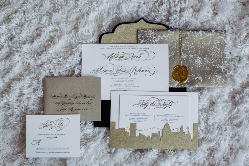 die-cut Baltimore skyline, letter pressed with a customized foil stamp made these Black Tie wedding invitations amazing #betypea