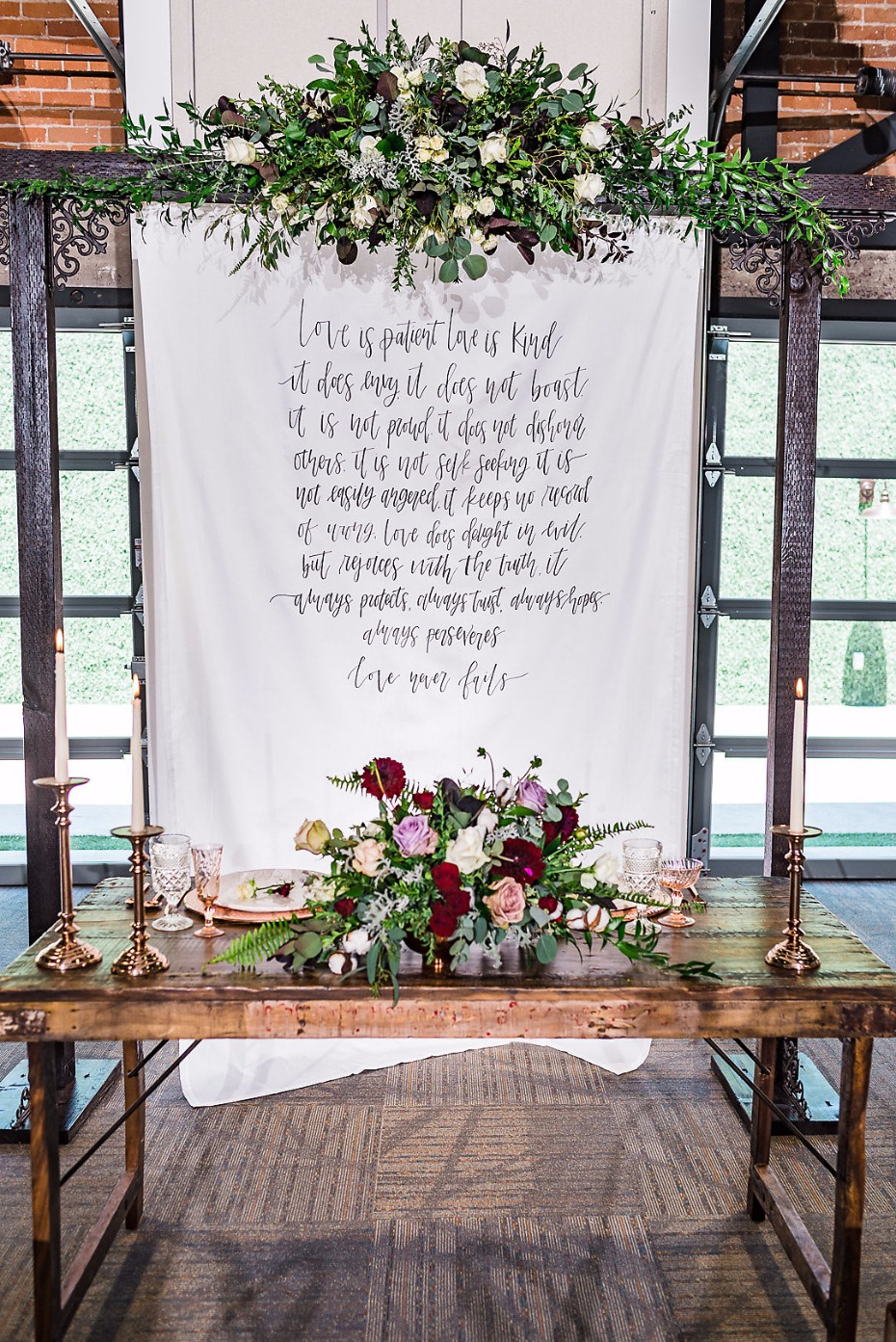 Industrial chic sweetheart table