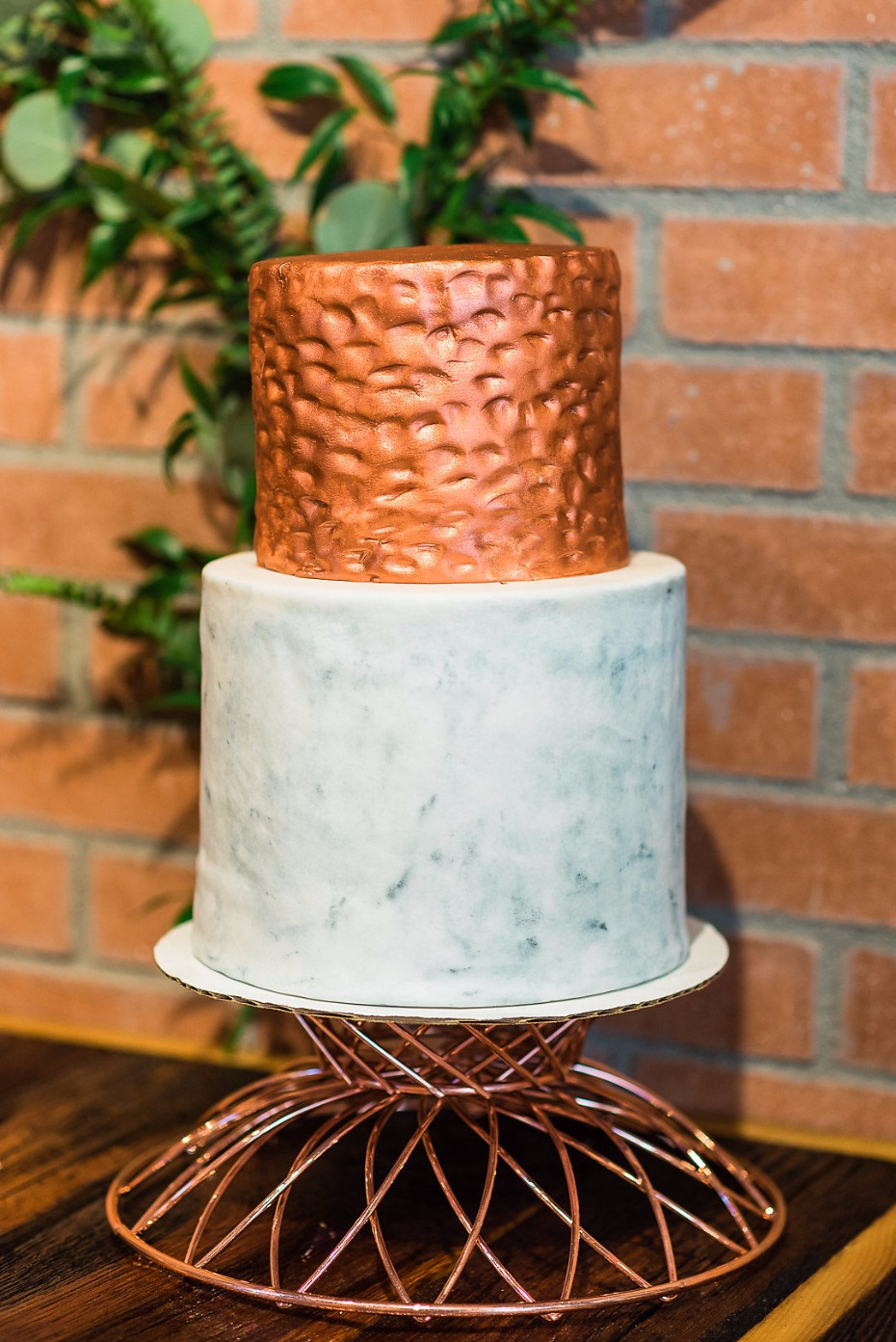 Hammered copper and marble wedding cake