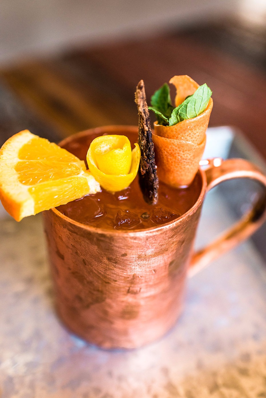 Citrus mule with bacon