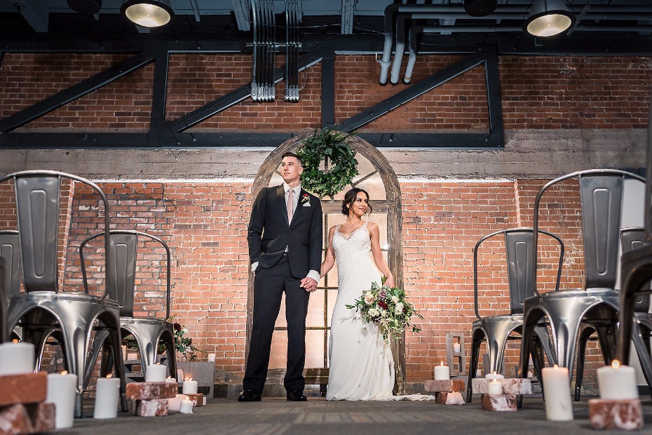 Industrial chic ceremony at Events On Jackson