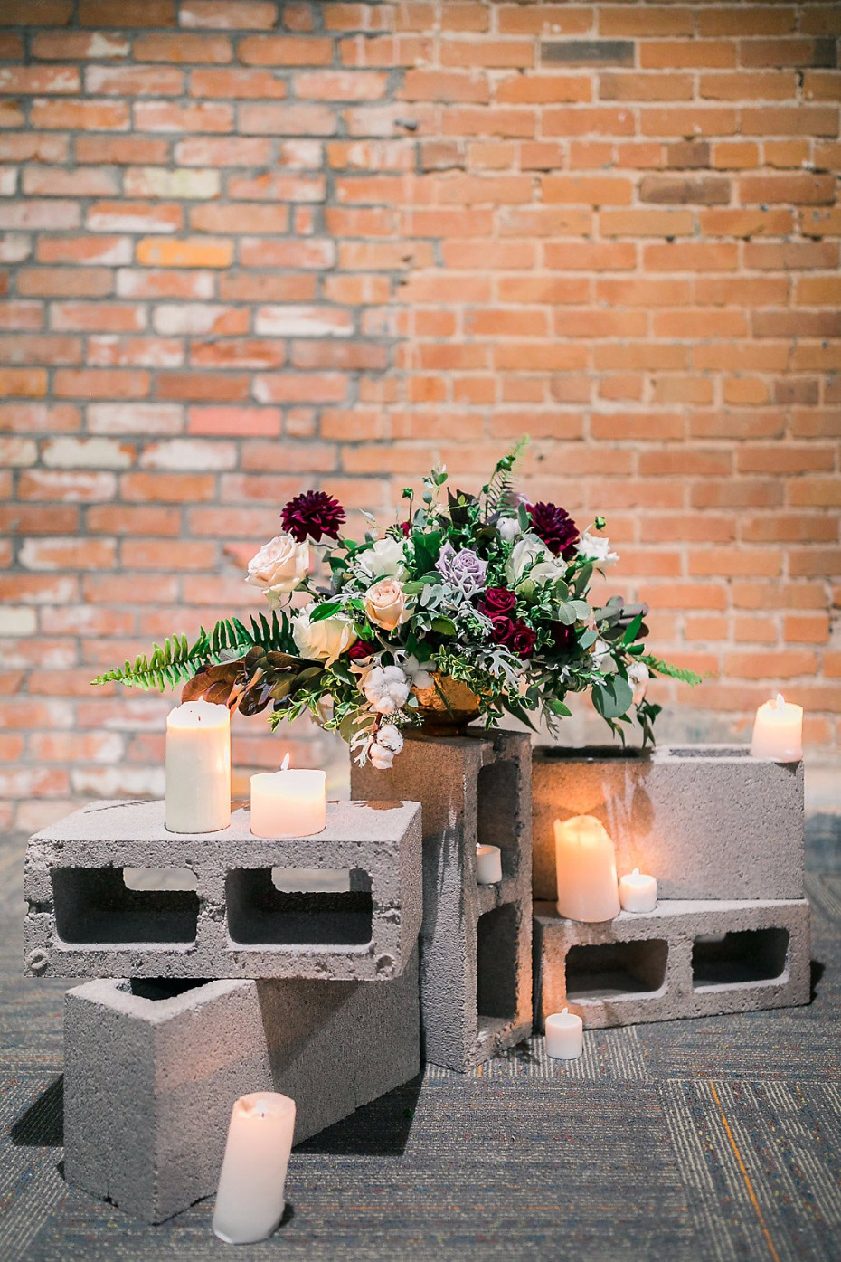 Cinder block ceremony decor idea
