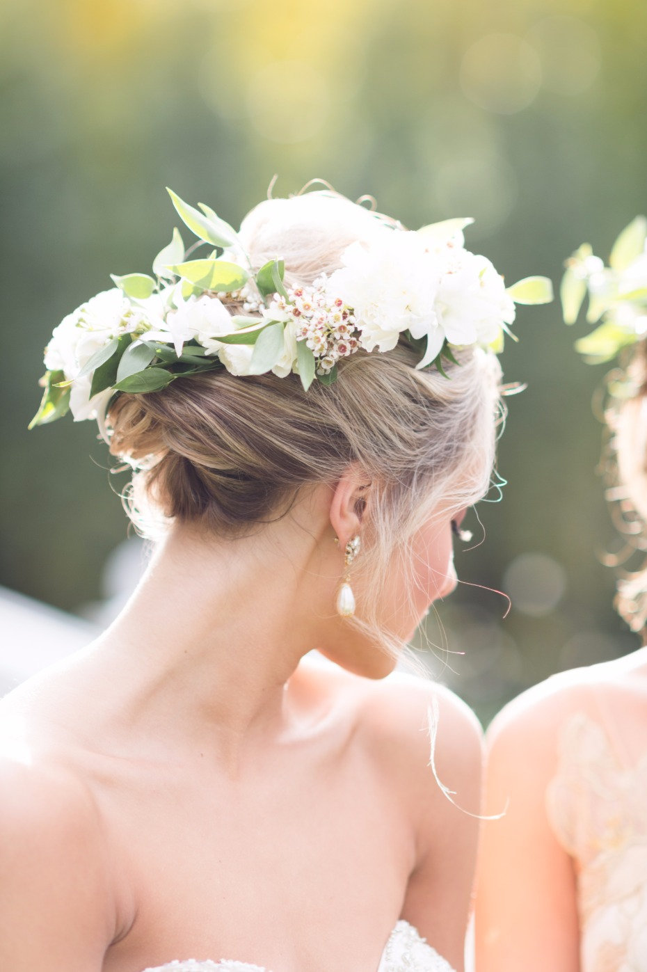 flower and greenery wedding halo