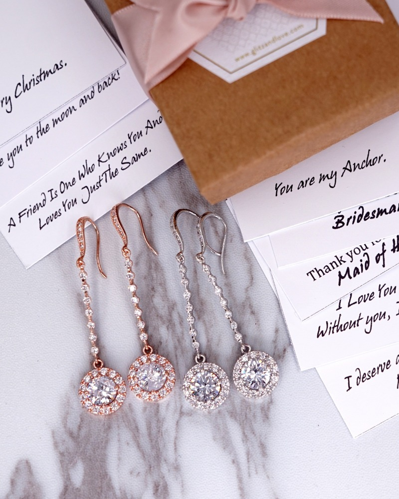 Chandelier earrings, rose gold silver, brides earrings, bridal shower gifts, bridesmaids, wedding, personalised message, gift wrapped