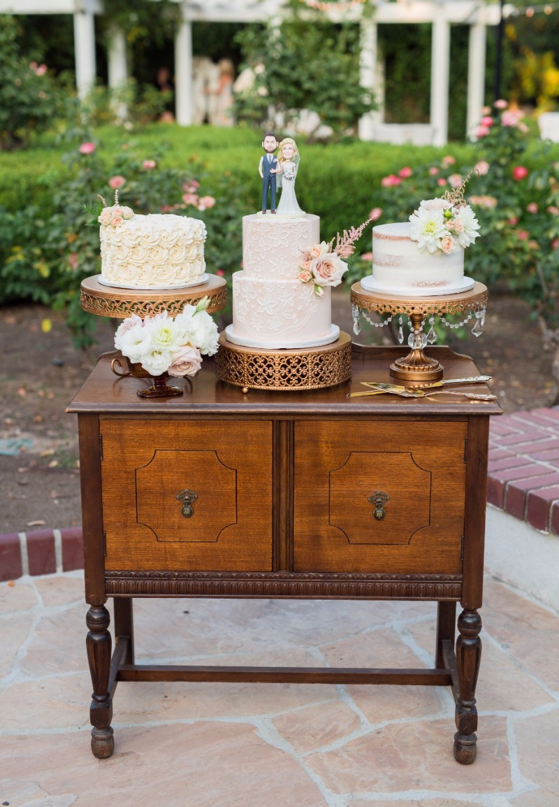 Vintage Inspired Wedding ~ Wedding Cakes on Gold Cake Stands by Opulent Treasures all styled on Vintage Dresser