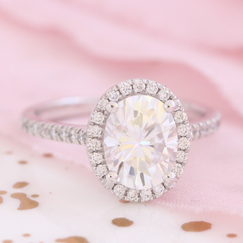 Oval 9x7mm Forever One Moissanite Engagement Ring in White Gold Halo Diamond Band by La More Design in NYC