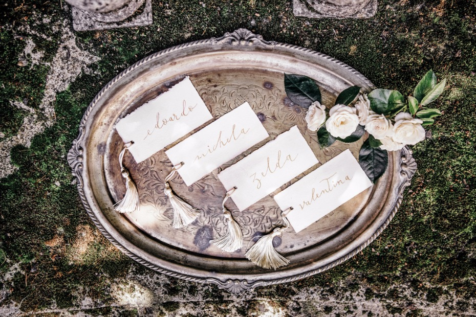 fancy tasseled wedding place cards