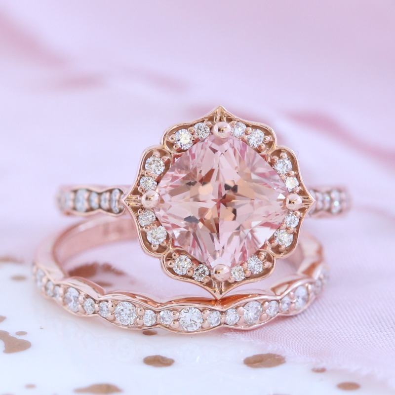 Vintage Floral Champagne Peach Sapphire Ring Bridal Set in Rose Gold Scalloped Band by La More Design in NYC