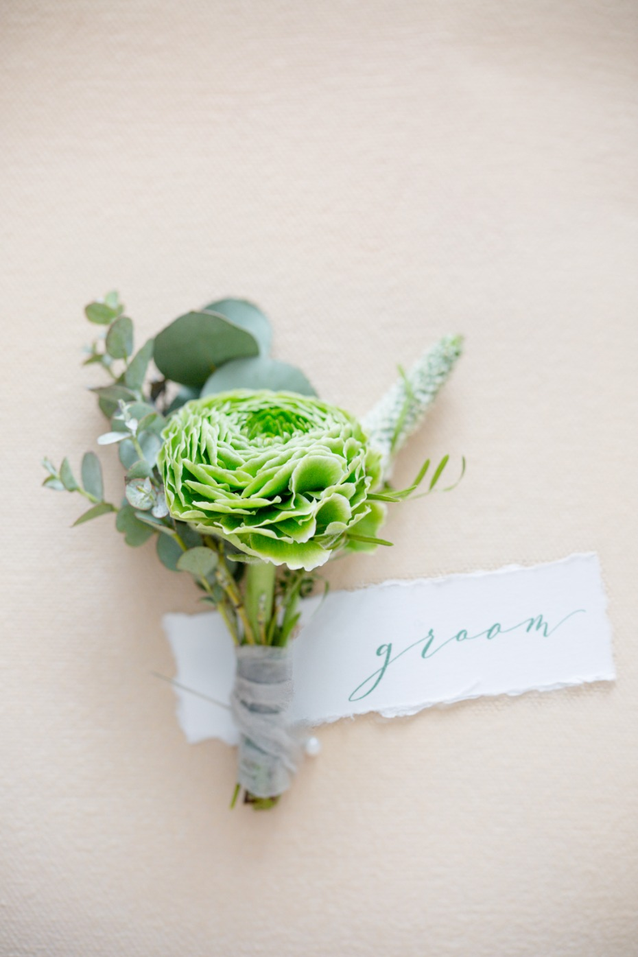 Green flower boutonniere