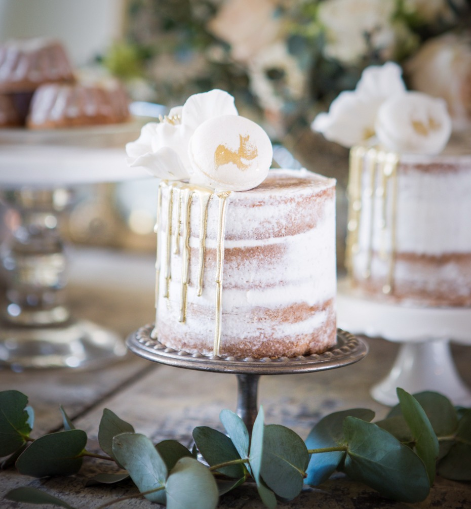 Mini naked cake with gold drip icing