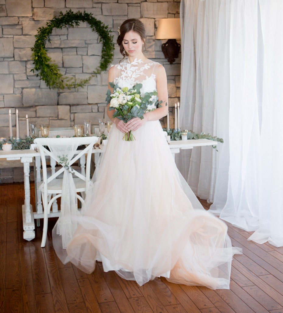 Pretty blush tulle wedding dress